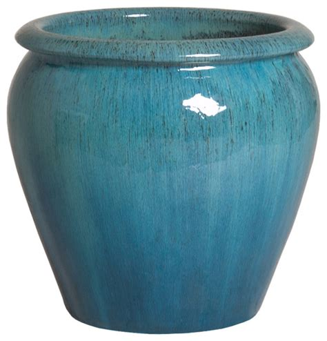 blue planter ghouter planter blue small traditional outdoor pots and planters by emissary