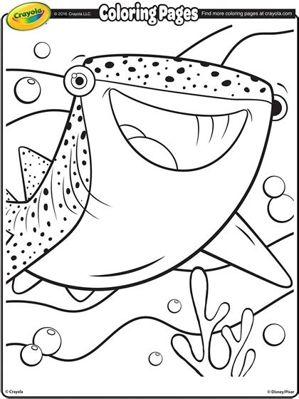 Finding Dory Destiny The Whale Shark Coloring Page Whale Shark Coloring Pages