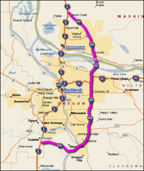 map of oregon 205 interactive i 205 portland or map
