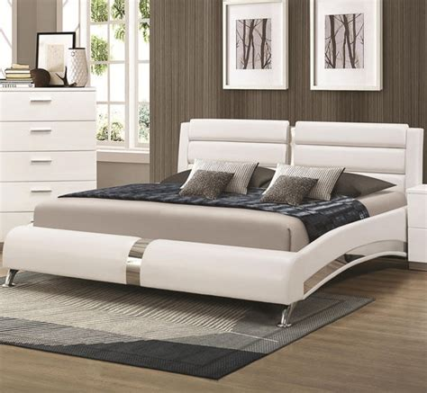 queen or king bed new killian modern white or black leatherette chrome queen