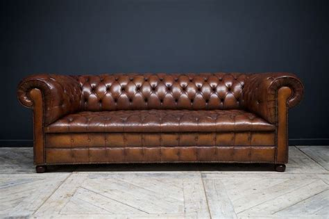 horse sofa chocolate brown leather horse hair stuffed chesterfield