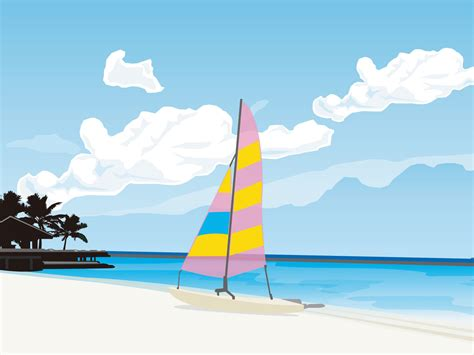 wallpaper cartoon beach vector scenery vector tropical beach 1600x1200 no 10