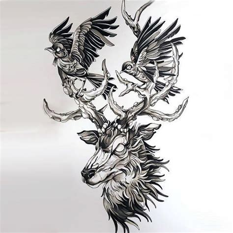best deer head with birds tattoo design