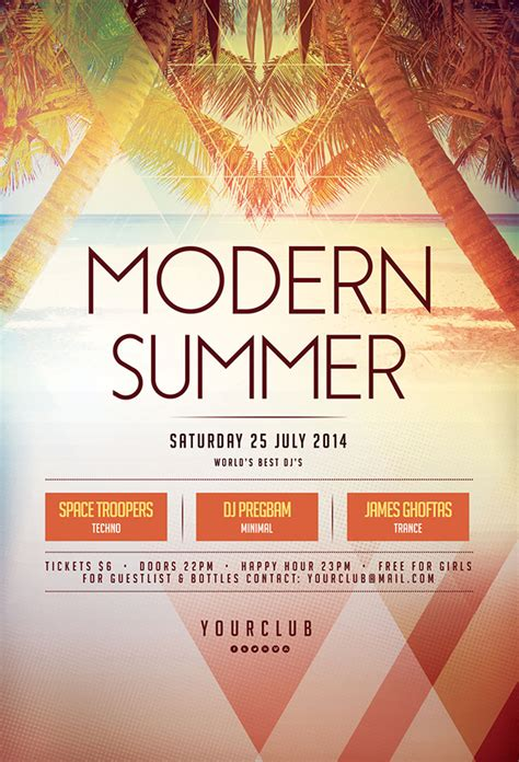 20 Creative Summer Flyers Poster Designs Graphics Design Design Blog Summer Poster Template