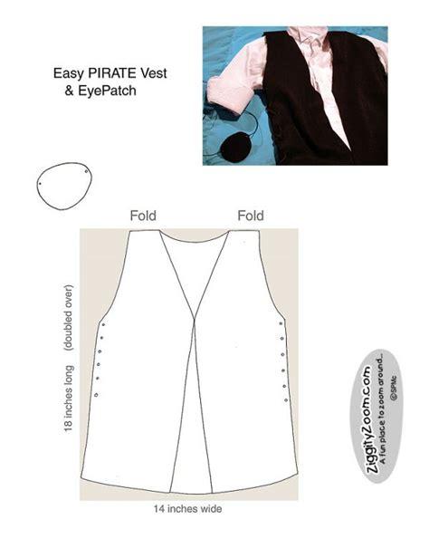 pattern for a simple vest pirate vest eyepatch ziggity zoom