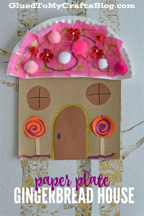 Paper Gingerbread House Craft - paper plate gingerbread house kid craft glued to my crafts