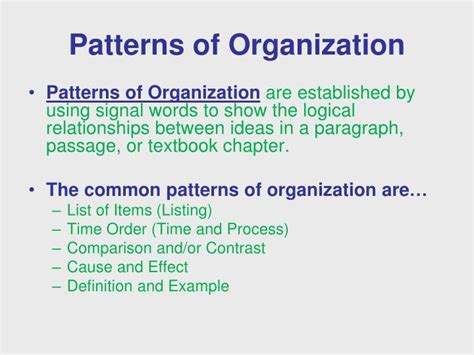 what pattern of organization does the speaker use ppt signal words patterns of organization powerpoint