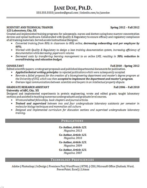 Resume Templates Phd Phd Resume Exle Scientist Biosciences