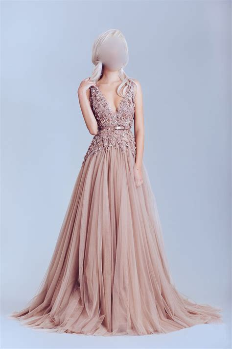 Wedding Prom Dress by Dusty Pink Prom Dress Tulle Prom Dresses Shoulder