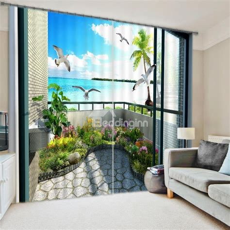 scenic curtains scenery of the balcony energy saving 3d curtain