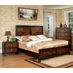 3 bedroom set furniture of america duo tone 3 piece acacia and walnut