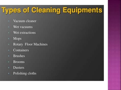 Types Of Mba Workshops by Housekeeping Cleaning Equipments