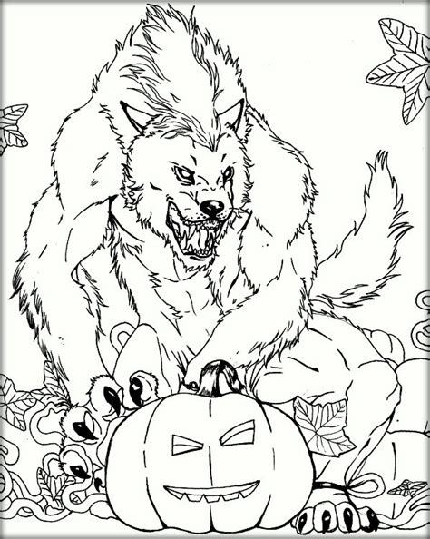 halloween wolf coloring pages free printable werewolf coloring pages color zini