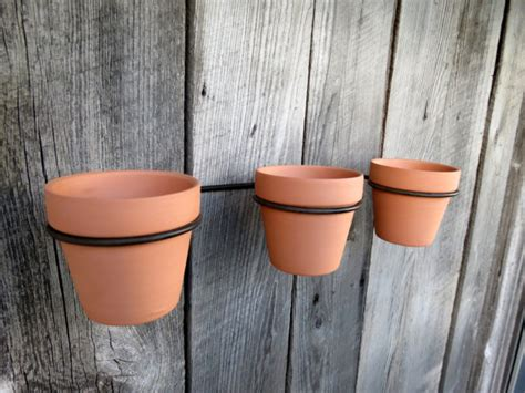 hanging flower pot hooks terra cotta flower pots with wall support rack wall hanging