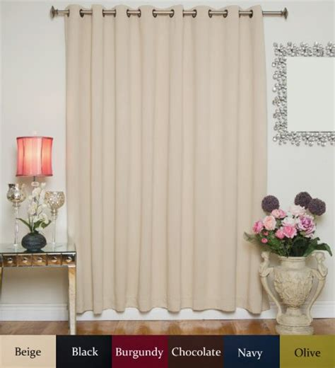 100 inch long curtain panels beige wide width antique brass grommet top thermal