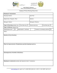 Employee Warning Template by Written Warning Template Best Business Template