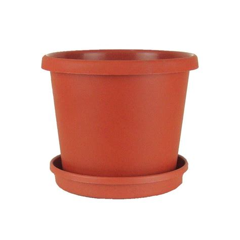 Planter Saucers Plastic by 10 Quot Terracotta Plastic Flower Pot With Saucer