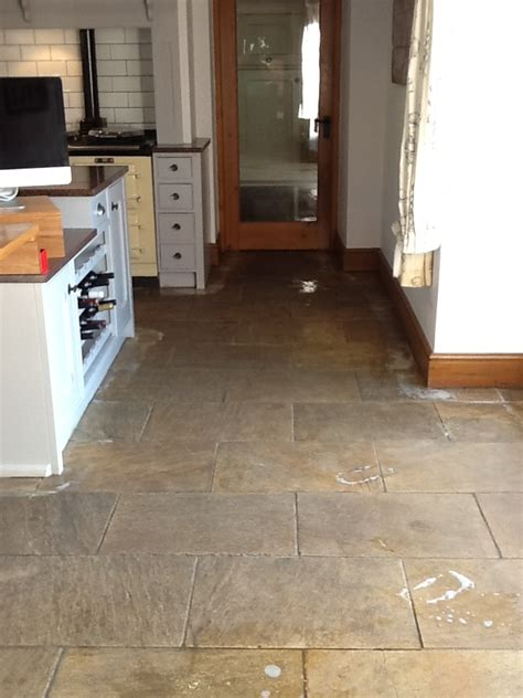 Kitchen Tile Floor Scrubber Heavily Soiled And Stained Sandstone Kitchen Tiles Cleaned