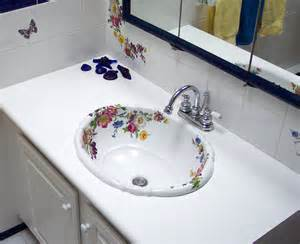 Dresden style hand painted floral bathroom decorated bathroom blog