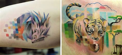 animal tattoo com colorful tattoos with pixelated glitches by russian artist