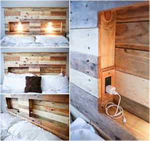 pallets bed headboard with integrated lightning 1001 pallets
