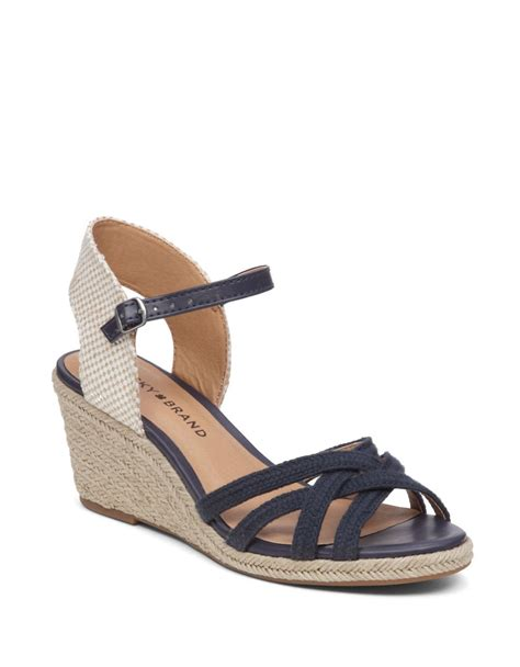 lucky brand wedge sandals lucky brand kalley3 espadrille wedge sandals in black lyst