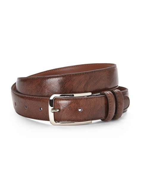 bosca loop leather belt in brown for