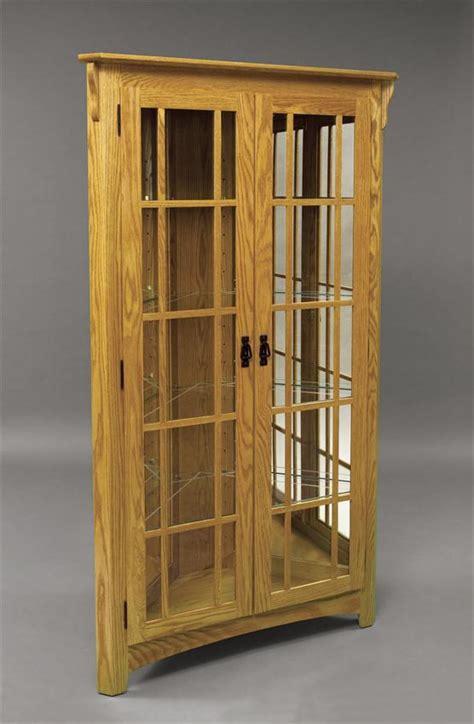wood corner curio cabinet plans   build  easy