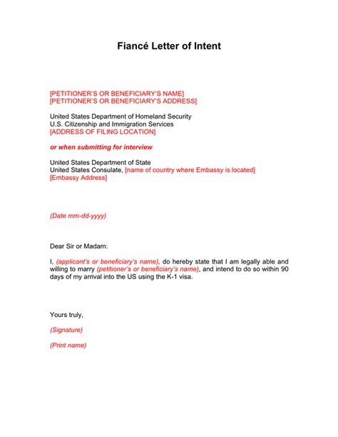 K1 Visa Letter Of Employment sle letter of intent to for i 129f docoments