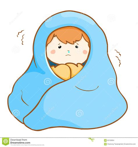 Stock United Healthcare Ill Boy Shivering Hard Under Blanket Stock Vector Image