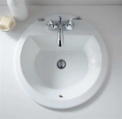 round bathroom sink kohler k 2714 4 0 bryant round self rimming bathroom sink