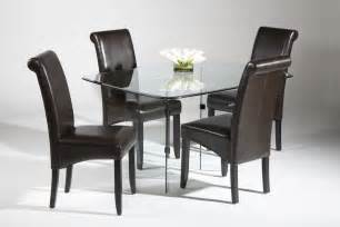 sophisticated all clear glass table leather dining room