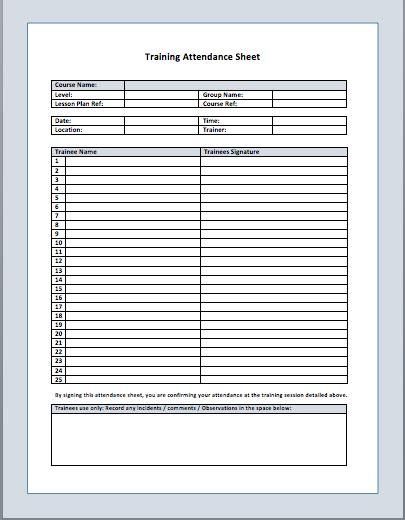 13 free sample training attendance sheet templates printable samples