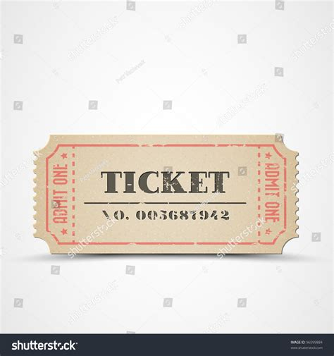 Ticket Number Search Vector Vintage Paper Ticket With Number 96599884