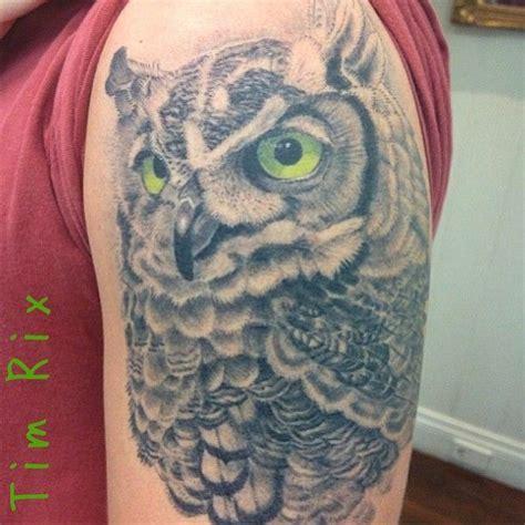 Owl Tattoo With Green Eyes | realistic owl tattoo green eyes by tim rix tattoos