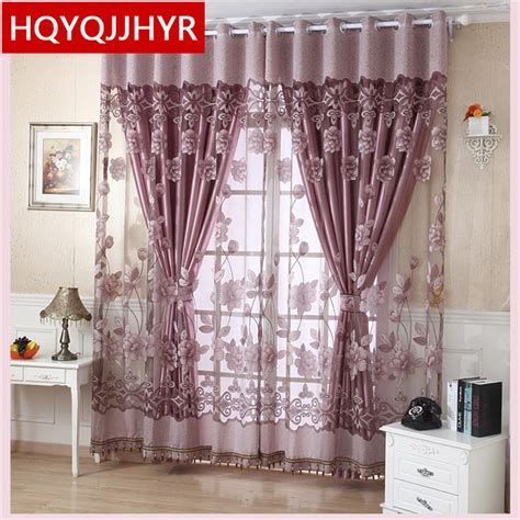 Sheer Kitchen Window Curtains European Luxury Rich Flowers Tulle Curtains For Living Room Sheer Curtains For Kitchen Window
