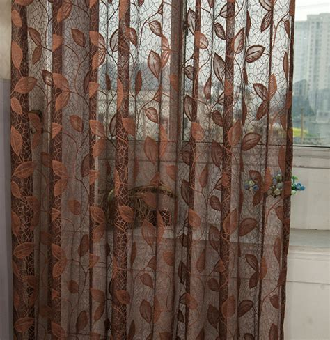 chocolate sheer curtains coffee brown jacquard net sheer curtain voile panel one