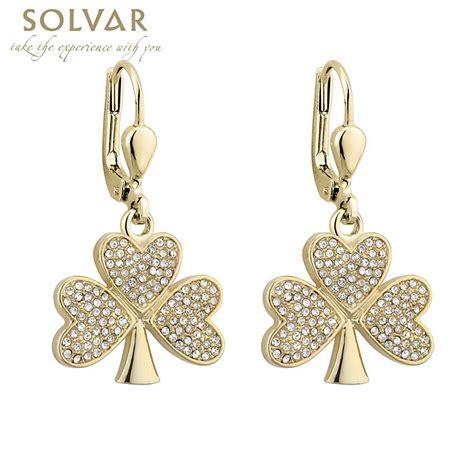 earrings gold plated shamrock earrings at