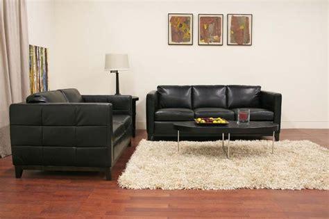 black leather sofa and loveseat set wholesale interiors modern black leather rohn sofa and