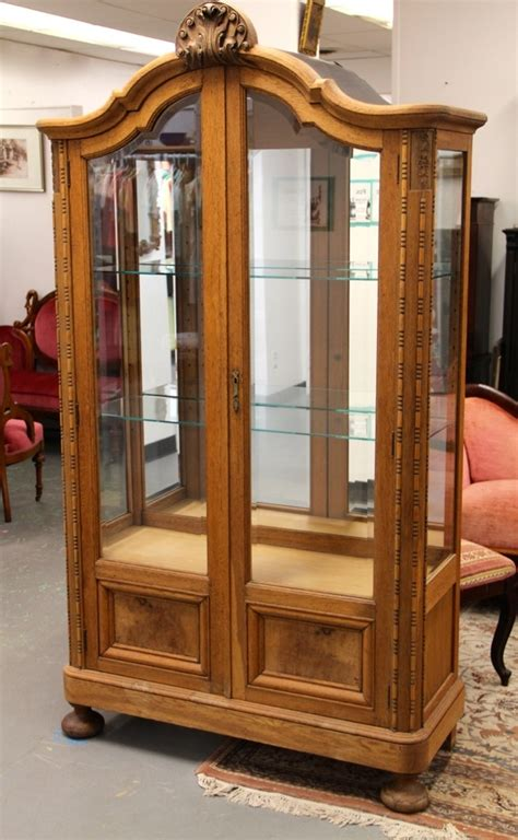 Antique Curio Cabinet With Glass Doors Found In Ithaca 187 Banyan Wood Curio Cabinet With Beveled