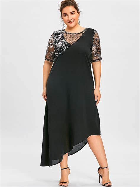 gamiss sparkly dresses plus size 5xl sequined asymmetric maxi dress summer