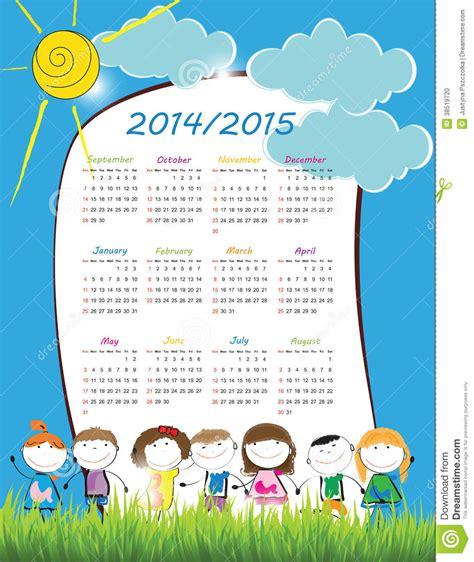 Calendario De La Escuela Calendario 2014 2015 De La Escuela Foto De Archivo