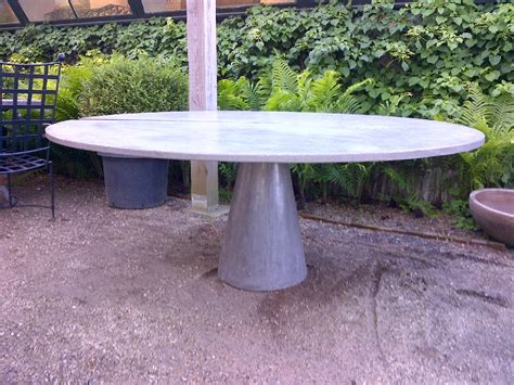 Large Round Concrete Slice Dining Table   Mecox Gardens