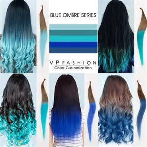 Natural black hair color with blue tips human hair extensions