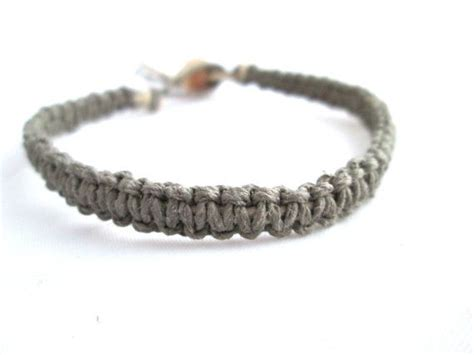 Macrame Bracelet Knots - macrame bracelet grey hemp bracelet square knot simple