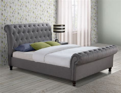 grey upholstered bed frame francesco grey upholstered bed frame