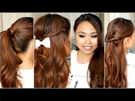easy back to school hairstyles no heat 5 easy hairstyles for school no heat youtube