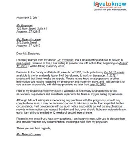 Resignation Letter Sle Not Returning From Maternity Leave Printable Sle Maternity Leave Letters Pregnancy And Babies Pregnancy Babies