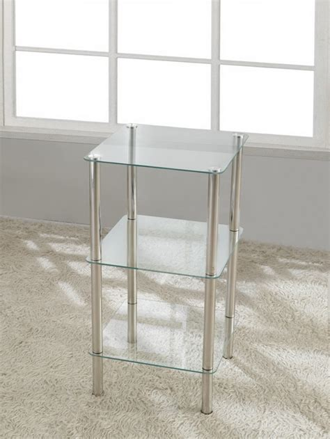 3 tier square glass stand coffee table bathroom