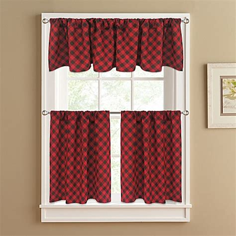 curtains for 36 inch window buy lumberjack 36 inch window curtain tier pair in red